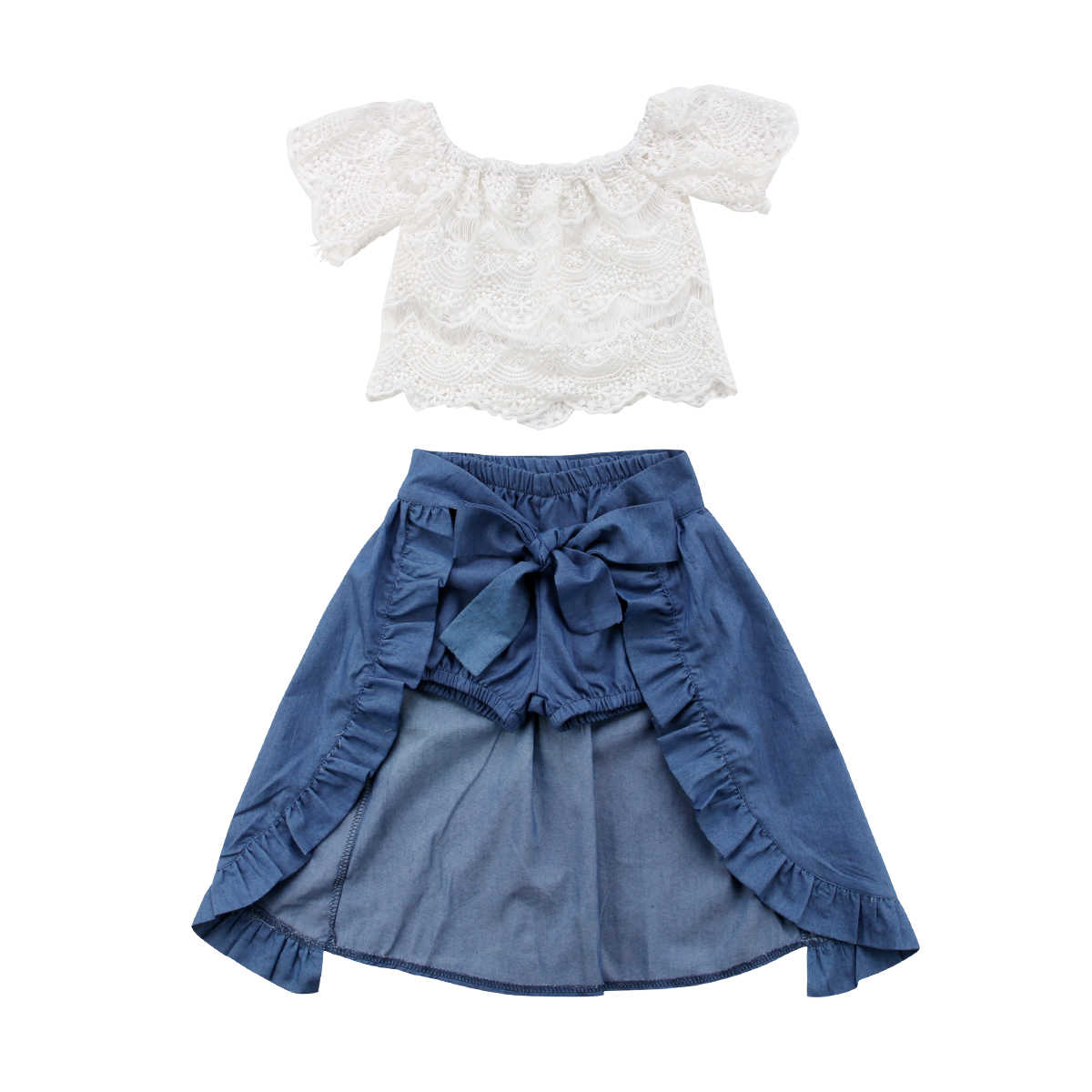 8e4a9794bc0d2 Toddler Children Baby Girl Clothes Set Summer Off-shoulder Lace Tops Denim  Jeans Bow Shorts