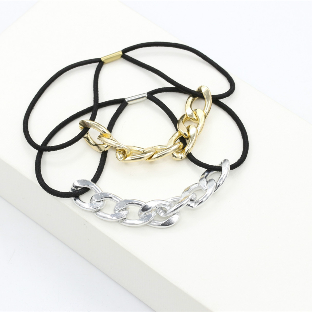 1PC Elastic Hair Band Head Knot Rope Ponytail Holder Hair Tie Ropes Metal Chain Hair Styling Tools Accessories Hair Braiders