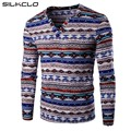 Hot Sell Men Fashion National Style Unique Stripes Print Base Shirt Men's Cotton Flax V Neck Long Sleeve T-shirt For Men Tees