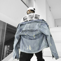 Loose Letter Embroidery Hole Men's Jacket Hip Hop Oversize Original Coat Denim Jacket Streetwear Mens Jackets and Coats