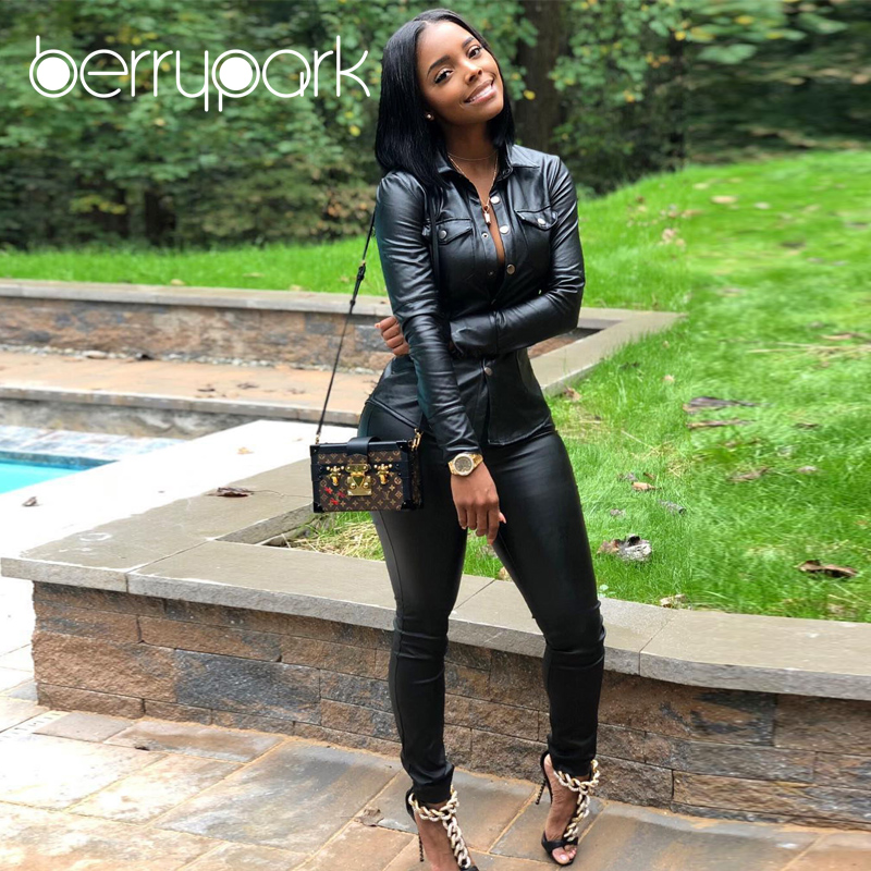 BerryPark High Fashion PU Leather 2Pcs Set 2019 NEW Women Turn-Down Collar Pockets Jacket and Pencil Pants Outfits Dropshipping