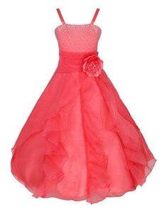 Image 5 - IEFiEL ילדים בנות רקום פרח קשת צד פורמלי כדור שמלת נשף נסיכת שושבינה חתונה ילדי טוטו שמלת גודל 2 14Y