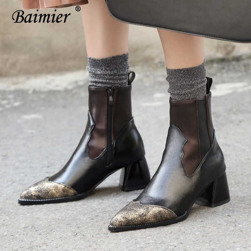 Baimier Retro Rivet Women Leather Boots Pointed Toe High Heel Ankle Boots For Women Warm Plush Women Winter Boots Plus Size 43