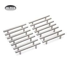 20/22 adet Modern mobilya kolları mutfak dolabı T Pulls kolları kolları paslanmaz çelik kulplar mobilya için