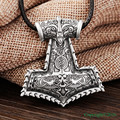 1pcs Amulet PENDANT Necklace Vikings Raven Thor's Hammer Pendant Necklace Original Animal Viking Jewelry