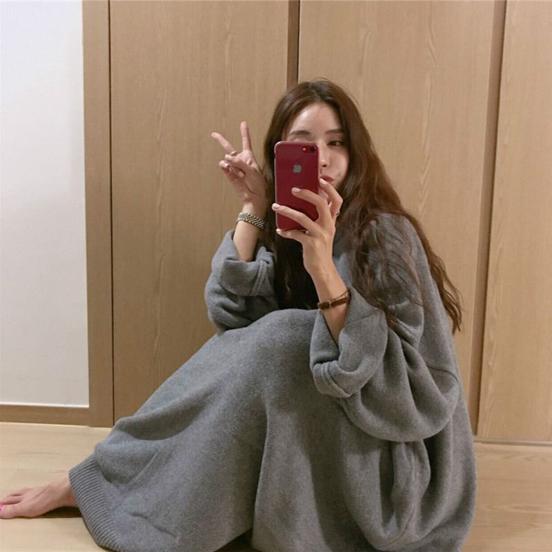 Korean Women Winter Oversized Long Pullover Sweater Dress Long Sleeves Casual Knitted Vestidos Mujer Robe Vetement Femme