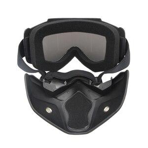 Image 3 - نظارات واقية للدراجات النارية مع وحدات قناع قابل للفصل خوذة ركوب نظارات السلامة Airsoft قناع الوجه درع متعدد الألوان عدسة