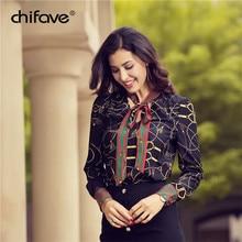 Купить с кэшбэком 2018 Women Blouse Chiffion Office Shirt Long Sleeve Printed Blouses Casual Spring Autumn Work Wear Shirts Top Plus Size chifave