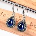 Retro-safira jóias de prata thai longo designer brincos para as mulheres de luxo elegante design de prata 925 jóias para as mulheres