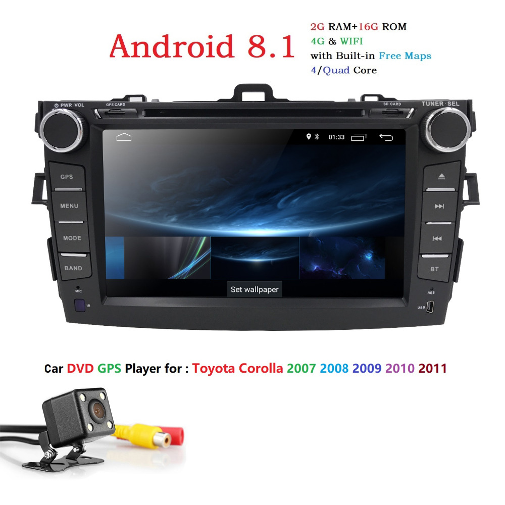 Hizpo Android 8.1 Car DVD Player for Toyota Corolla 2007-2011 with quad Core 2G+16G Auto Radio Multimedia steering wheel control