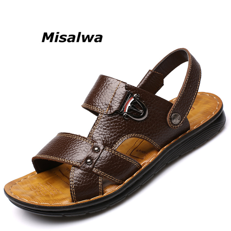 Misalwa Brand Fashion Genuine Leather Men Summer Shoes Black Brown Breathable Casual Sandals Shoes For Men Non-slip Flip Flops