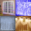 Origlam 110V 9.8ft x 9.8ft 304 LEDs Fairy Curtain String Lights with 8 Lighting Modes Controlled for Valentine's Day / Party