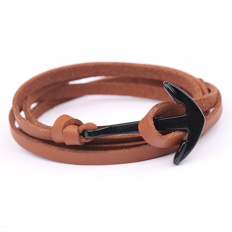 NIUYITID Leather Bracelet Men Jewelry Fashion Anchor Bracelet & Bangle Female Women Braclet pulseira de couro masculina (1)
