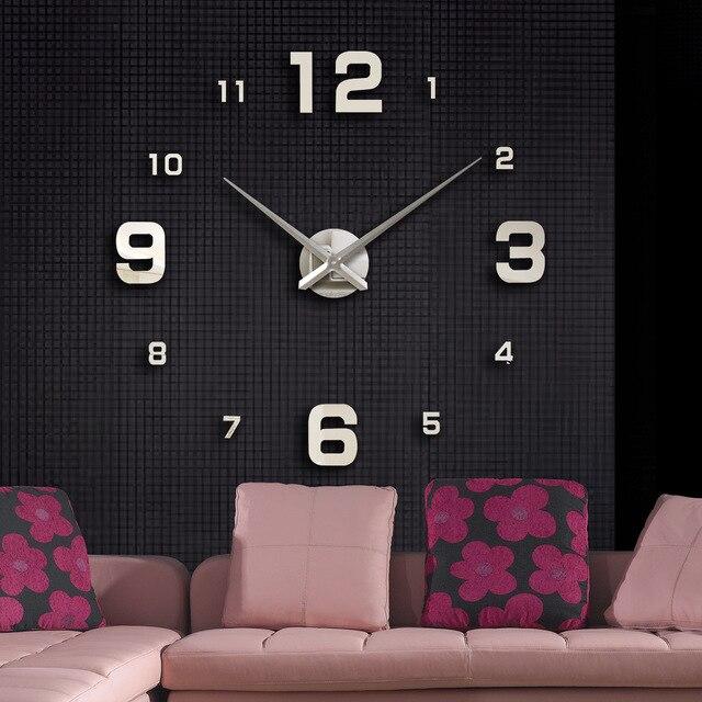 Hot Selling Full Black Wall Clock Modern DesignHome Decoration Big Mirror 3D DIY Large Decorative Wall Clocks Watch Unique Gift