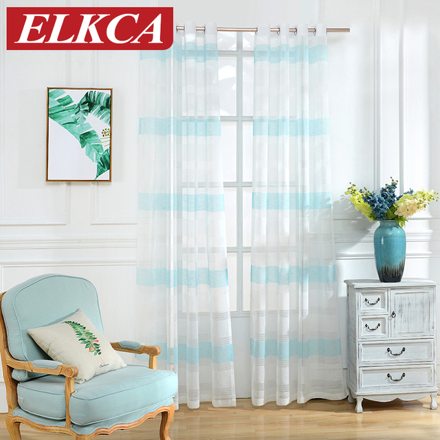 Sky Blue Horizontal Striped Curtains For Living Room Window Sheer Bedroom Modern