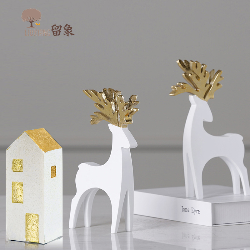 Dwelling Decorations Equipment Christmas Deer Ornament White Moose Ornaments Lx Home Statue Present Birthday Current For Youngsters