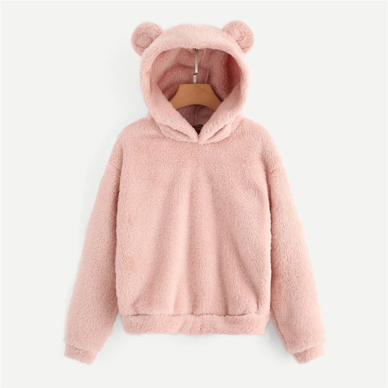 SHEIN Preppy Lovely With Bears Ears Solid Teddy Hoodie Pullovers Sweatshirt Autumn Women Campus Casual Sweatshirts 5
