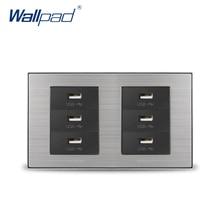 2018 Wallpad 6 USB Charge Port For Mobile 5V 1000mA Wall Power Charger Satin Metal Panel