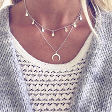 Simple Moon Round Pendant Clavicle Necklace Women Silver Double Layer Necklace Exquisite Party Birthday Jewelry(China)