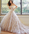 Vestidos De Noiva Romantic Strapless Wedding Dresses Ball Gown Pearls Bridal Gowns Lace Up Back Wedding Dress With Beaded Straps