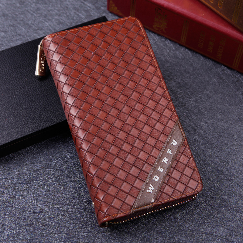 Fashion Men's Long Zip Leather Clutch Wallets Male Famous Brand Business Purses with Card Holder Phone Pocket Wallet for Men designer men wallets famous brand men long wallet clutch male money purses wrist strap wallet big capacity phone bag card holder