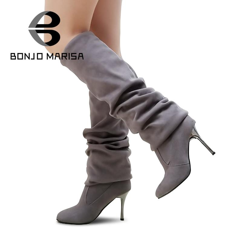 BONJOMARISA Big Size Women High Heel Boots Over The Knee Thigh High Boots Sexy Lady Fashion Winter Shoes Knight Boots XB345 patriot gp 2510