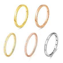 Silver Ring Charms Diy Rose Guldfärg Surround Kärlek Crystal Ring Passar Kvinnor Ringar Romantiska Smycken