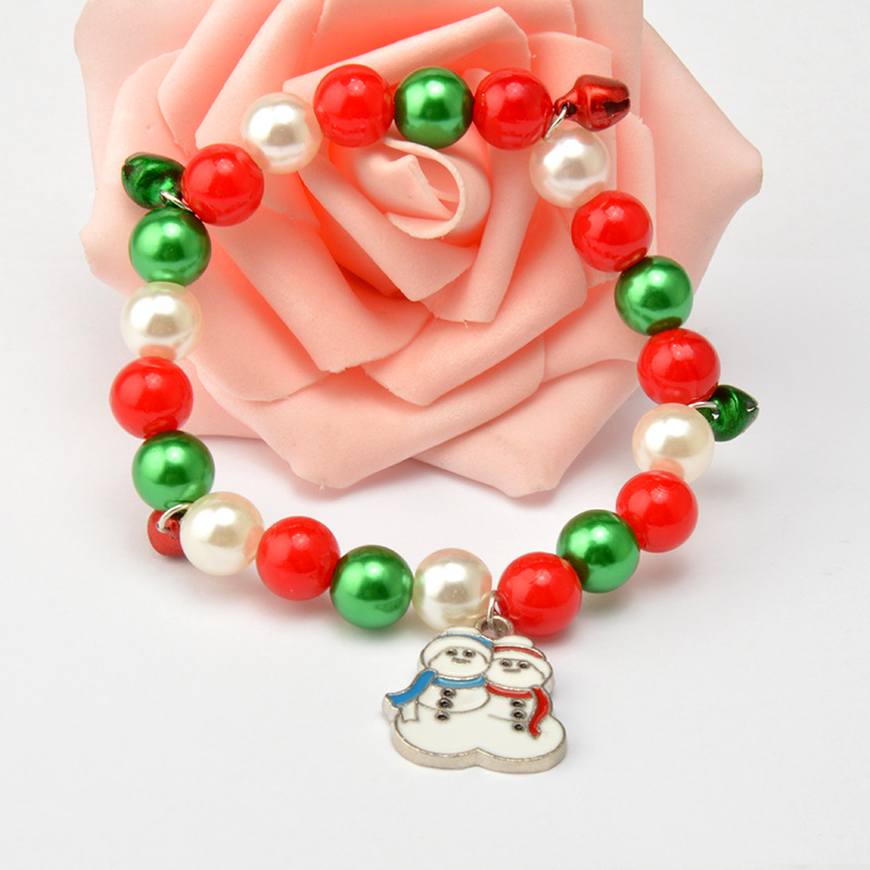 2017 Wholesale Red Green Beaded Bracelet Bangle Snowman Boots Christmas New Year Gift Cordao Braslet DIY Jewelry Christmas Gift