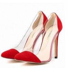 LOSLANDIFEN Femmes Crystal Clear Transparent Stiletto Haut Talon Pompes Spliced talons 11 cm blanc rouge jaune chaussures colorées 42 LLDF