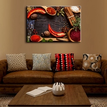 Brown Various Colorful Herbs And Spices Wall Art Canvas Painting Picture Art Print Food Artwork for Kitchen Home Decor Wholesale