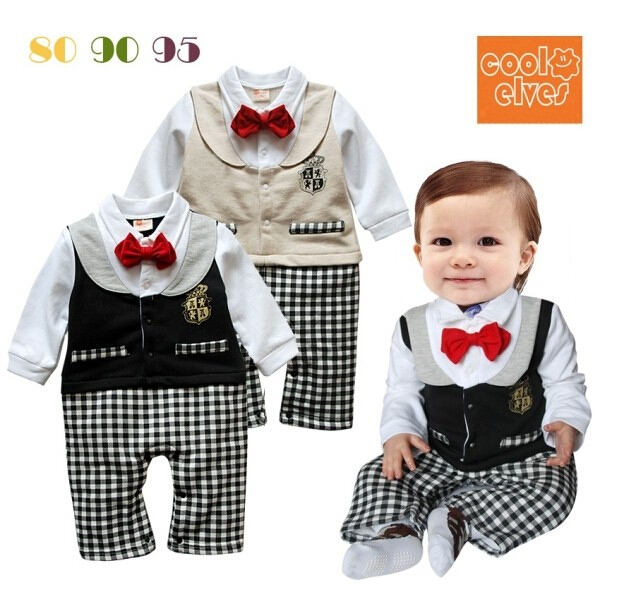 2016 New Baby Romper Boy Red Bow Plaid Formal Suit Bebes Black Khaki Newborn Clothes One Piece Infant Gentlemen Jumpsuit Pajamas