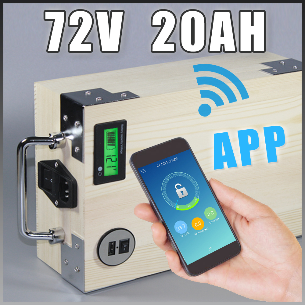 app 72V 20Ah Electric Bicycle LiFePO4 Battery + BMS ,Charger Bluetooth GPS control 5V USB Port Pack scooter electric bike