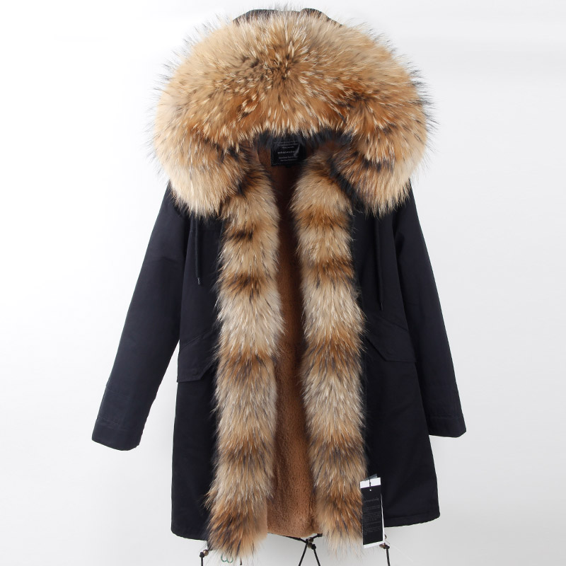 2018 new fashion long winter jacket women luxurious Large raccoon fur collar hooded coat warm fur liner parkas top quality