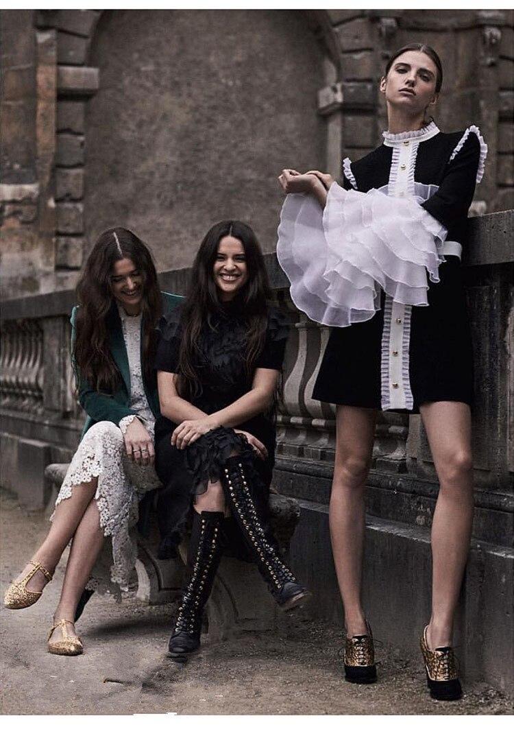 Qualité Festa Robe 2018 Femmes Automne Manches Boutons Flare Élégant Ruches Curto De Royal Longues Noir Haute Vintage TwZxvqZ0
