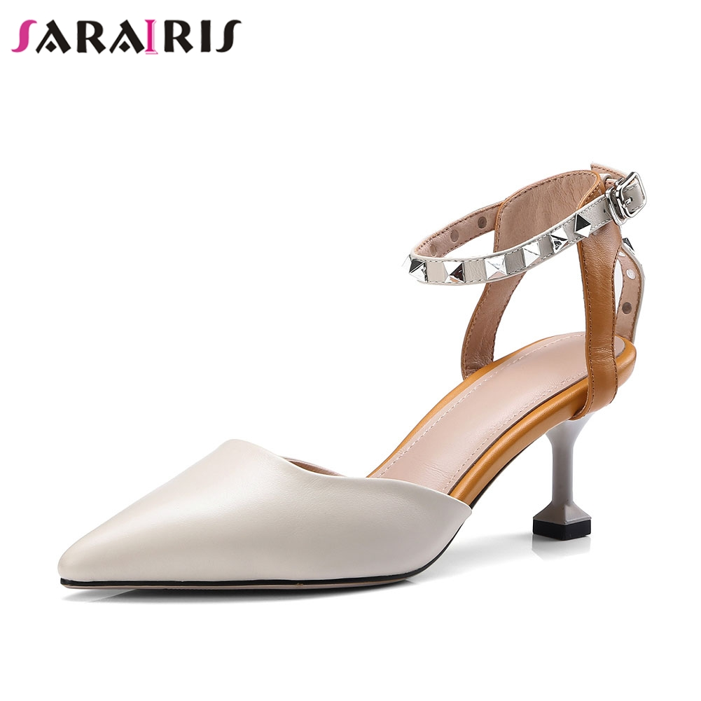 SARAIRIS sexy hot sale Brand design genuine leather Rivets Womens shoes Sandals trendy Summer Party Sandals Woman ShoesSARAIRIS sexy hot sale Brand design genuine leather Rivets Womens shoes Sandals trendy Summer Party Sandals Woman Shoes
