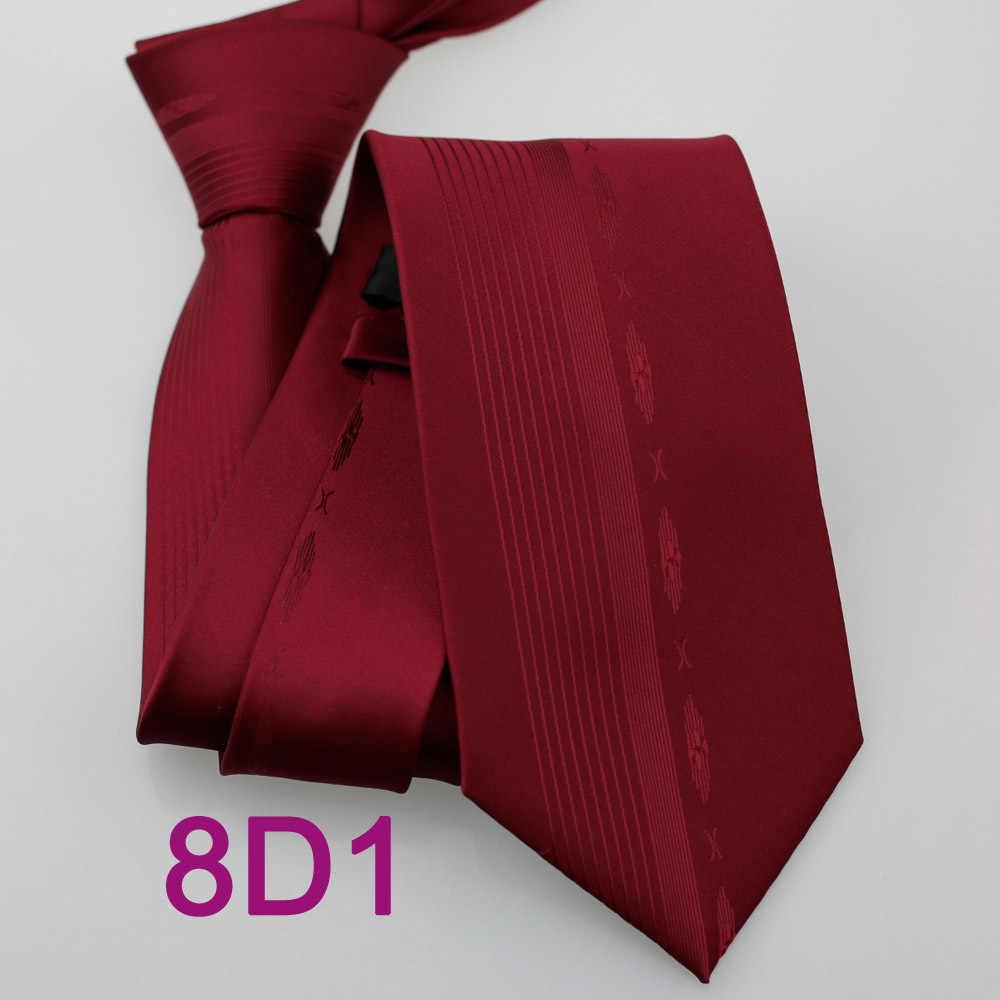 Coachella pria Burgundy Warna Solid Vertikal Stripes Normal Dasi Formal Neck Tie untuk Pria berpakaian kemeja Pernikahan
