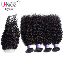 "UNice Hair Kysiss Series Brazilian Curly Human Hair 4 Bundles With Closure 8-26"" Human Hair Extension Unprocessed Virgin(China)"