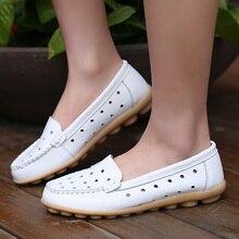 women's  Summer breathable leather cutout shoes flat plus size 40 41 flat heel mother shoes white nurse shoes
