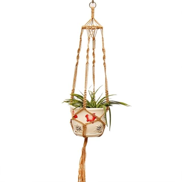 Garden Handmade Rope Plant Hanger Basket  Pots Holder Natural Fine Hemp Rope Net Flower Pot Plant Lanyard Garden Balcony Decor