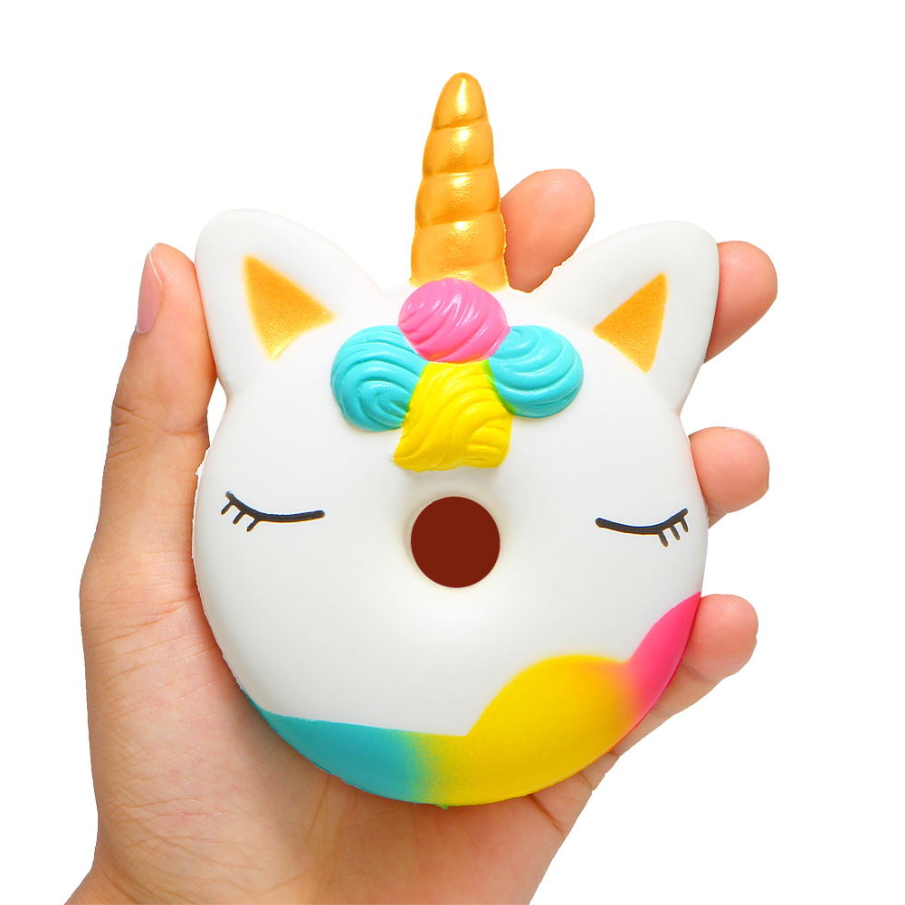 Delicious Jumbo Unicorn Donut Squishy Cake Bread Squishies Cream Scented Slow Rising Squeeze Toy Original Package Suitable For Men And Women Of All Ages In All Seasons