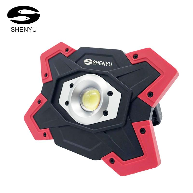 SHENYU LED Camping Lanterne Tente lampe de Poche 10 w 12 v USB Rechargeable Puissance Banque Projecteur 18650 Batterie Projecteur Portable Lampe