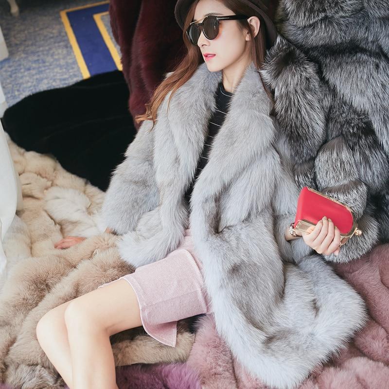 Высокое качество пушистые вся кожа Лисий Меховые пальто Верхняя одежда женщин отложной воротник толстый теплый натуральный мех Куртки ...