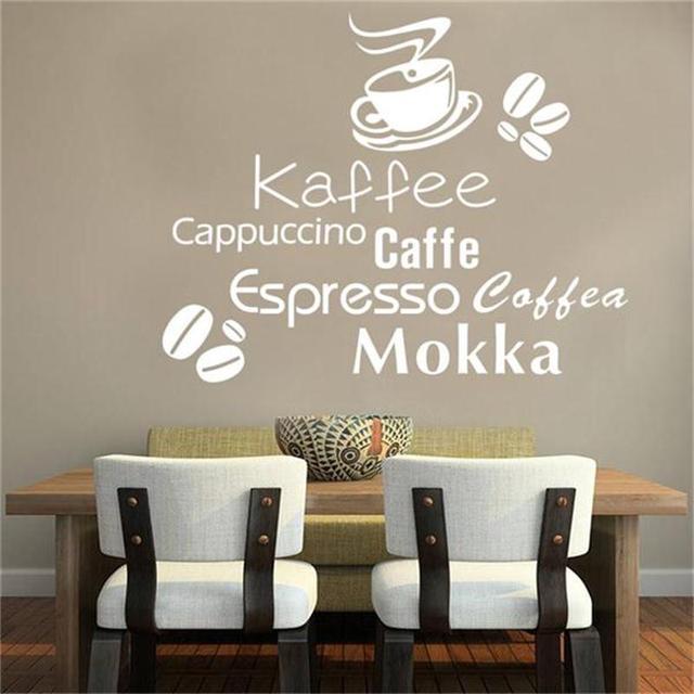 Moda Kaffee Cappuccino Caffe litery naklejki ścienne domu kawiarnia dekoracja kuchenna naklejki do samodzielnego wykonania winylowa dekoracyjna plakat