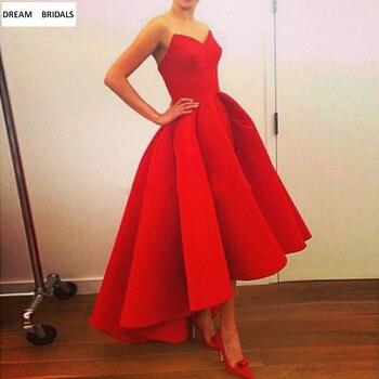 Simple A-Line V-Neck Robe De Soiree Sleeveless Abaya Red Prom Party Dresses Evening Long Ruffles Avondjurk 2019