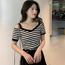 New t shirt femme Women's Korean tshirt Casual Short Sleeve Cold Shoulder tshirt women V Neck Striped Slim Knitted T-Shirt drop shoulder striped t shirt with split