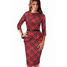 2016 New Women Vintage Elegant Belted Tartan Peplum Ruched Tunic Work Party Cap Sleeve Bodycon Sheath Dress