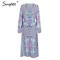Simplee Boho Floral Print Two Piece Suits Long Dress Tassel Tie High Waist Autumn Dress 2017