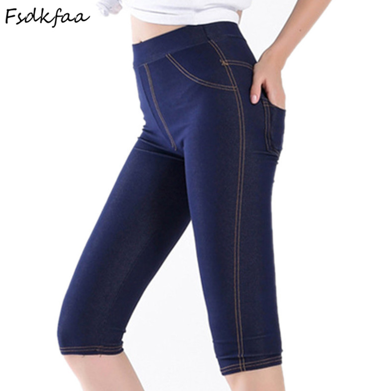 FSDKFAA 2018 Summer Style Women leggings Super Elastic Denim Soft And Breathable Plus Size XL-XXXXXL Women's mid-calf Pants