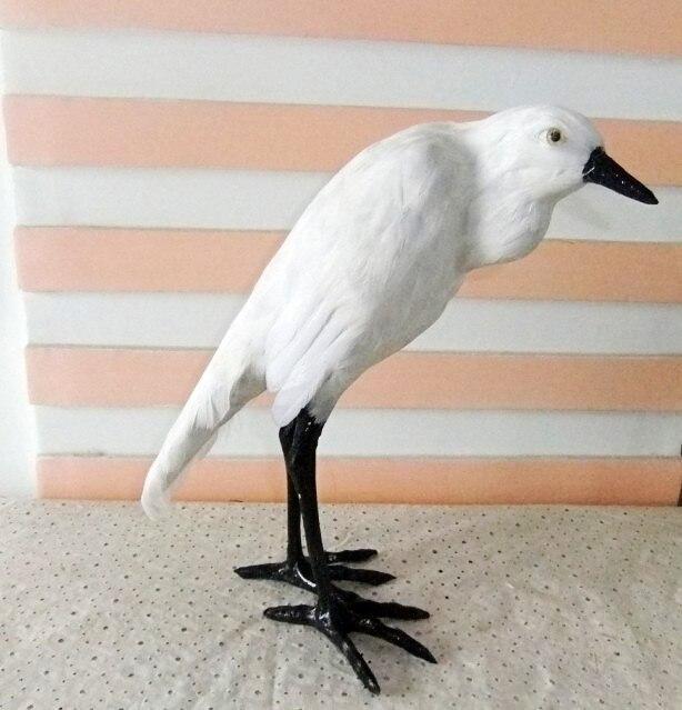 simulation feather Egret bird model 25X11X30CM toy polyethylene&furs Resin handicraft,Teaching Model props,gift decoration d0101
