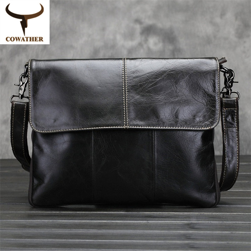 ФОТО COWATHER Vintage 2017 cow genuine leather messenger bags for men handbags satchels Oil wax leather high quality free shipping